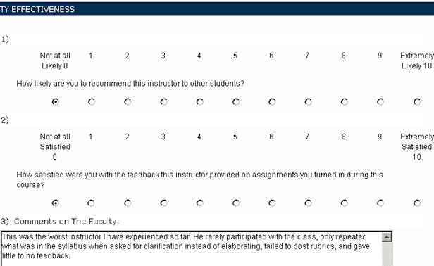 A bad teaching evaluation, obviously intended for my evil twin