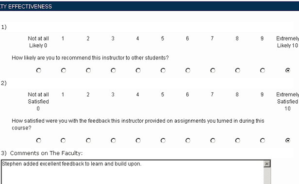 A good teaching evaluation - I'm glad mom took the class