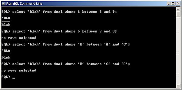 Screenshot of using BETWEEN